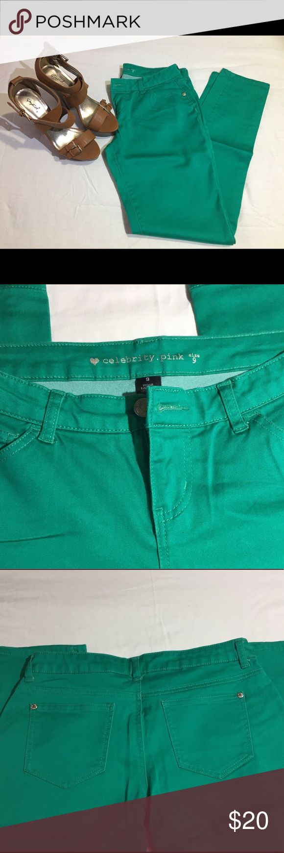 Green Skinny Celebrity Pink Pants Like new green skinny Celebrity Pink pants/jeggings. Good amount of stretch to them, mid rise, only wore once. Heels pictured are not included but are for sale in my closet! Celebrity Pink Pants Skinny
