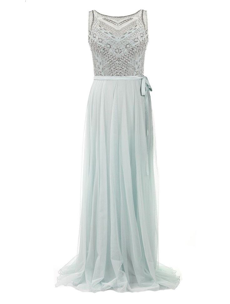 Lange jurk met geborduurde bustier afgewerkt met parels -  100% polyester Enkel droogkuis