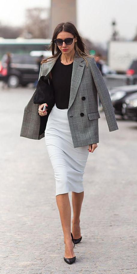 Create A Ful Femme Look With Pencil Skirt And Structured Blazer Click To See More Blazers Street Style Pinterest Skirts