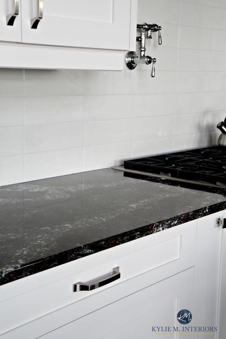 cambria ellesmere black quartz countertop white kitchen cabinets and off white light gray subway. Interior Design Ideas. Home Design Ideas