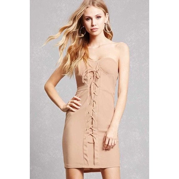Forever21 Lace-Up Grommet Tube Dress ($33) ❤ liked on Polyvore featuring dresses, nude, lace up bodycon dress, forever 21 cocktail dresses, red body con dress, red cocktail dress and laced up dress