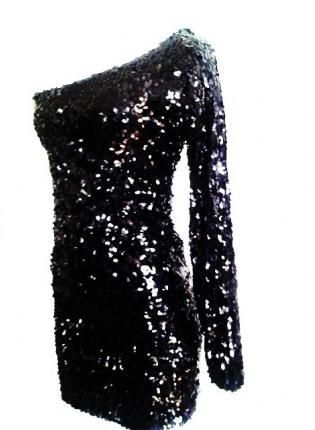 Black Sequin One Sleeve Sparkle Glitter Party Dress,  Dress, Sequin long sleeve dress  sequence dress, Chic