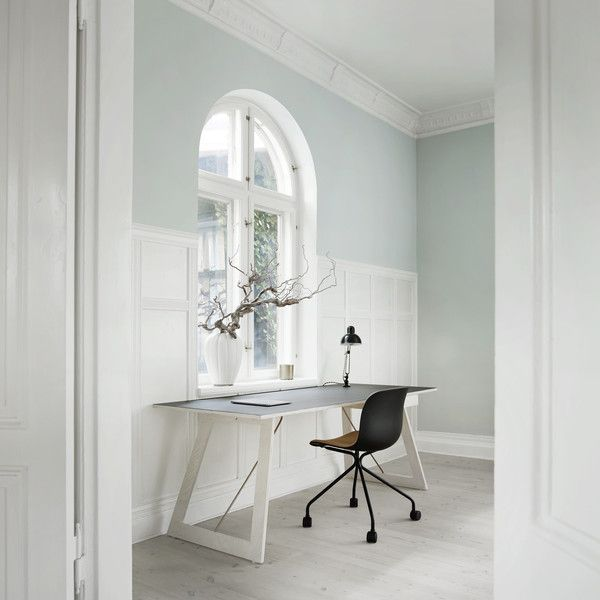 SkabRum desk made of plywood, linoleum and brass. #office #desk #plywood #linoleum #brass #handcrafted #carpentry #danishdesign #SkabRum #madeindenmark