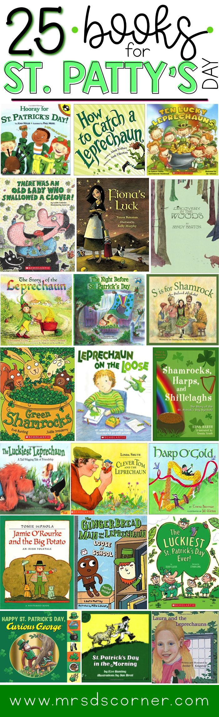 These 33 children's Saint Patrick's Day books are wonderful to help celebrate all things leprechaun, green, and gold! Blog post at Mrs. D's Corner.