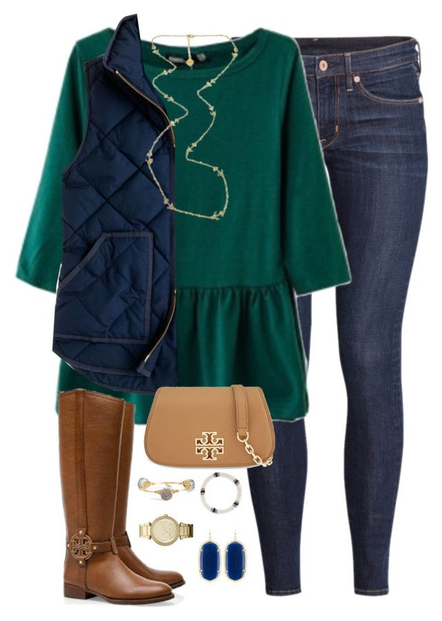 """""""you are my happy place"""" by kaley-ii ❤ liked on Polyvore featuring H&M, J.Crew, Fornash, Tory Burch, Bourbon and Boweties, Aid Through Trade, MICHAEL Michael Kors and Kendra Scott"""