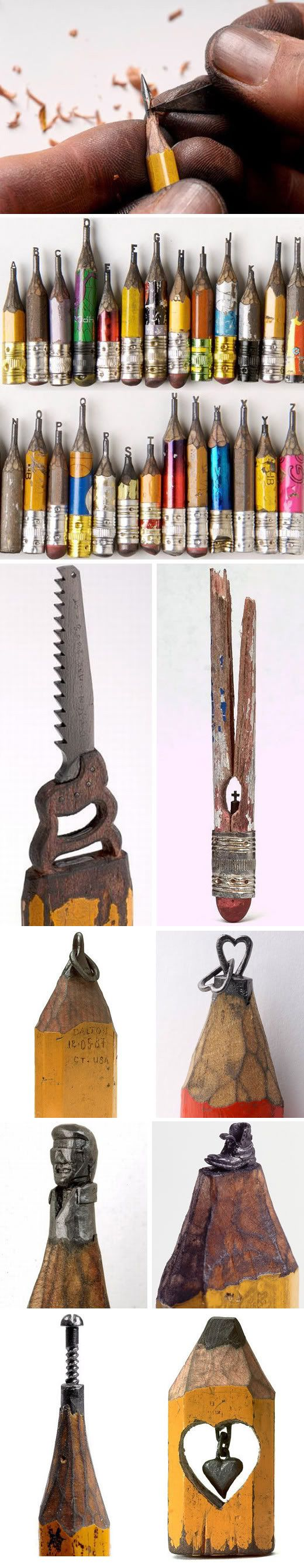 "Incredible Pencil Carvings    Dalton Ghetti began learning how to carve at the age of 6. He now works as a carpenter as well as ""sharpening"" pencils as a hobby and as a form of meditation."
