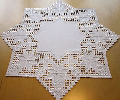 """HARDANGER NEW BEAUTIFUL HANDCRAFTED tabel center psc/ star white 23.5""""x23.5"""""""