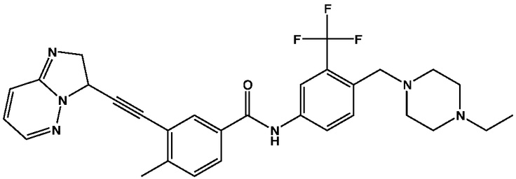 Ponatinib (also known as AP24534) is a type II protein kinase inhibitor and an experimental drug candidate for the treatment of chronic myeloid leukemia (CML) and Philadelphia chromosome positive (Ph+) acute lymphoblastic leukemia (ALL). It has been found effective against ABL kinase with its gatekeeper reside mutated from tyrosine to isoleucine.