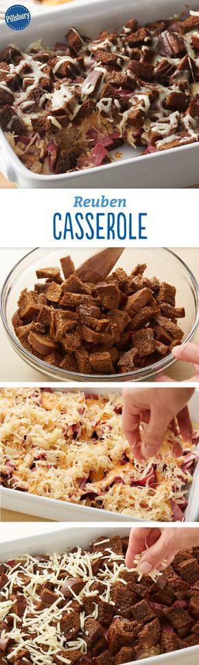 Reuben Casserole - A deconstructed version of your favorite Reuben sandwich! This recipe turns delicious corned beef, sauerkraut, melty Swiss cheese and toasted pumpernickel bread into an easy weeknight dinner bake.