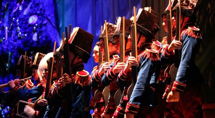 Artists of Pennsylvania Ballet as toy soldiers in the battle scene of George Balanchine's The Nutcracker. Photo Credit: Alexander Iziliaev
