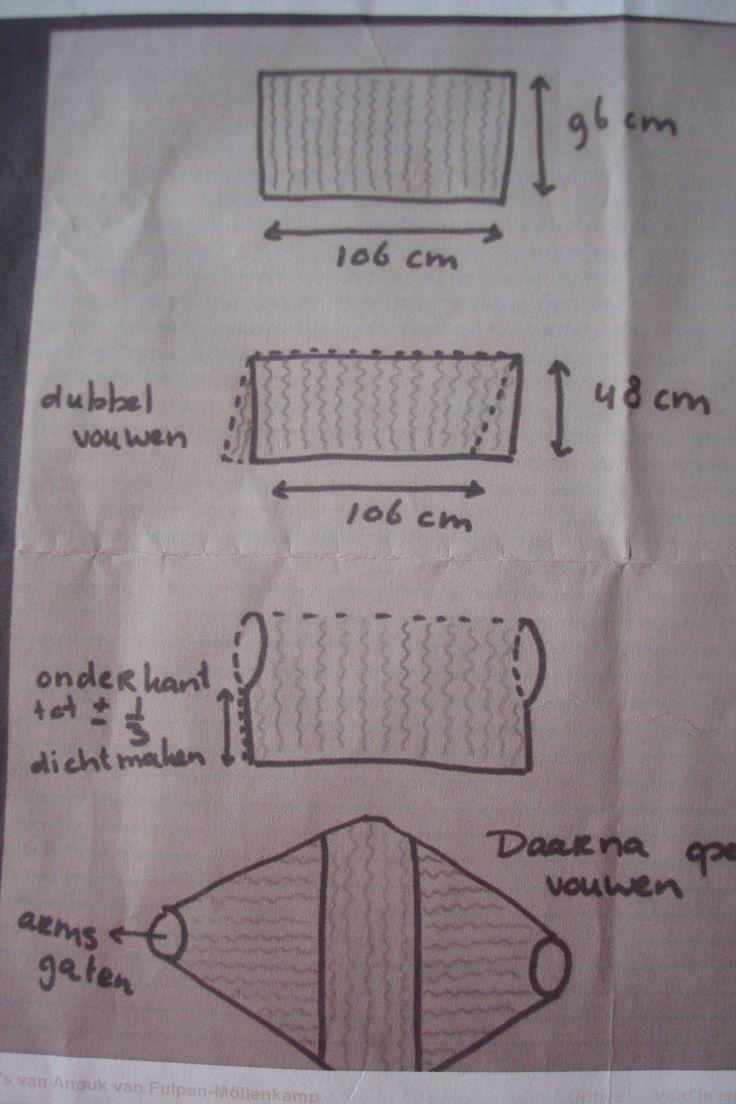 Shrug-Half stokje - achterin steken Deze is gehaakt met 5 bollen 100 gram van Royal (Zeeman) dubbele draad in naald 7