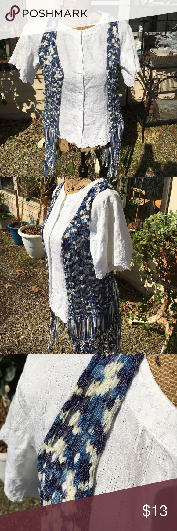 Blue and white woven vest with long fringe Xhilaration woven blue and white vest with long fringe. So very cute with jeans or shorts. Completes the look you may be going for and soft and washable ‼️💕 xhilarations Other