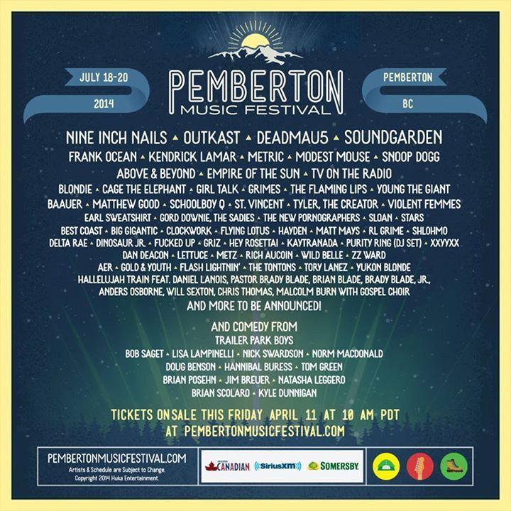 Fantastic lineup for the 2014 Pemberton Music Festival!