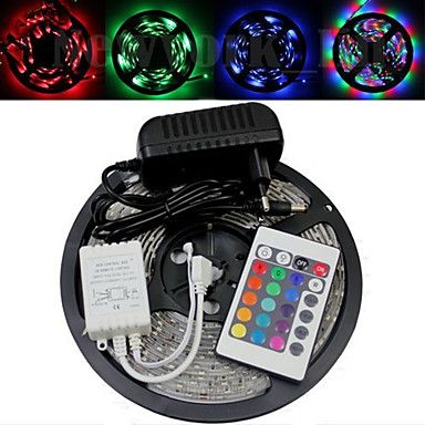Waterproof 5M 300X3528 Smd Rgb Led Strip Light and 24Key Remote Controller and Ac110-240V to Dc12V3A Transformer 2016 - $17.99