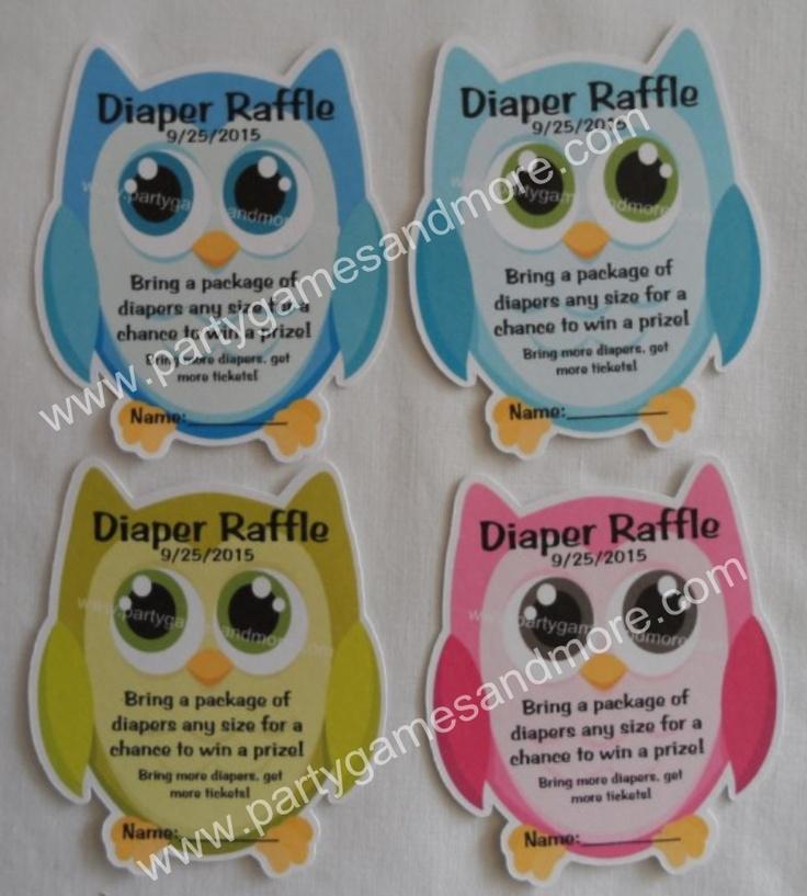 Owl shaped diaper raffle tickets 2