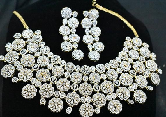 1gm Gold -Bridal Jewelry-Wedding Jewelry-Indian Fashion Jewelry for Brides Sparkling American Diamonds Choker Necklace Set with Earrings