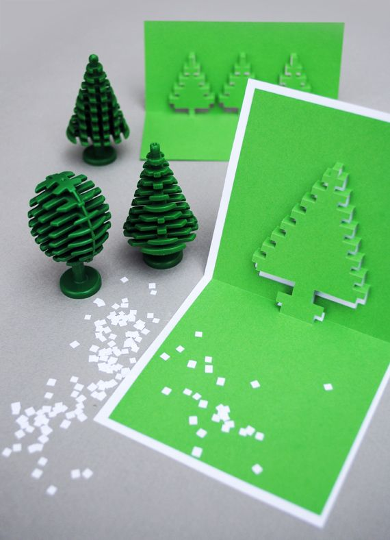 How to Make Christmas Pixel Popup Cards by minieco #Pop_Up_Cards
