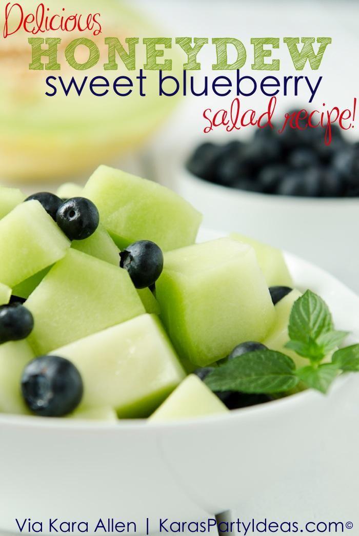 Sweet Honeydew Blueberry Salad Recipe via KarasPartyIdeas.com
