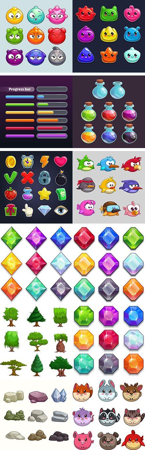 游戏中图标元素设计矢量素材 25eps Diseño de interfaz de usuario