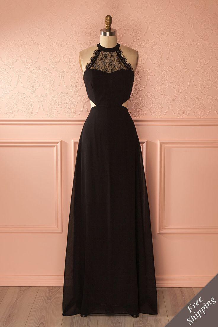 Robe de soirée licou noire à col en dentelle - Black lace neckline halter gown
