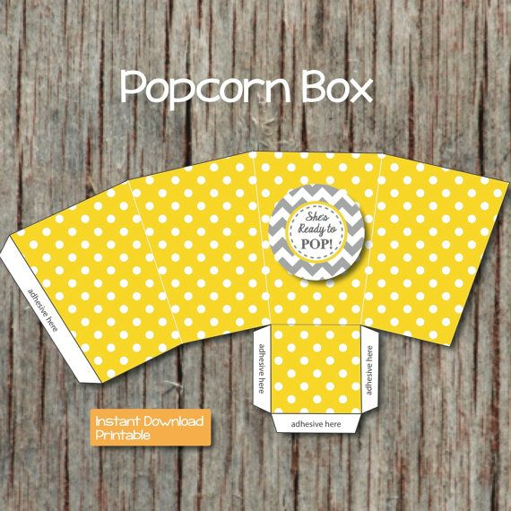 Yellow Grey Baby Shower She S Ready To Pop Popcorn Boxes
