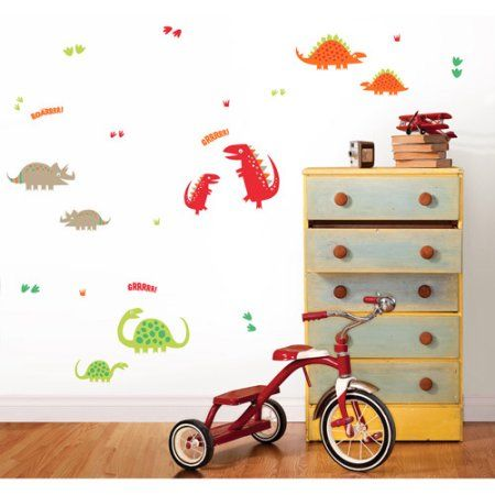 Fun4Walls Dino Wall Stickers, Red, Orange