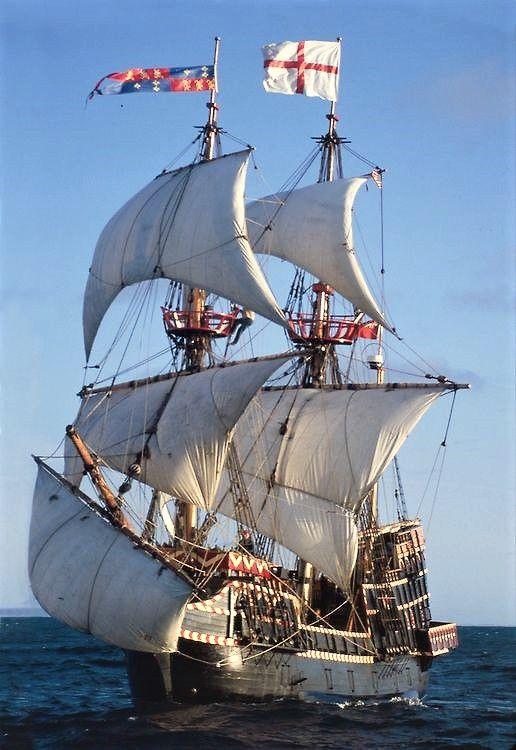 """""""Golden Hinde"""" full sail at sea."""