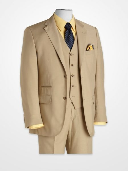 SteveHarvey Tan Suit with Canary Yellow & Navy Accents