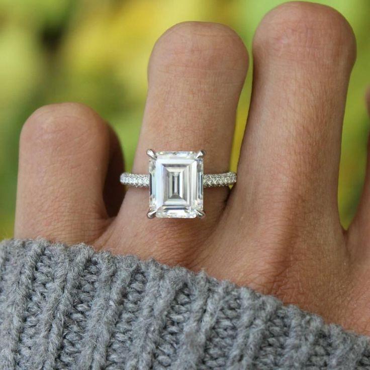 5.00 Carat Emerald Diamond & Three Row Pave Engagement Ring, GIA Certified Emerald Cut Diamond Engagement Rings for Women, Three Row Diamond Pave, Raven Fine Jewelers, Beverly Hills