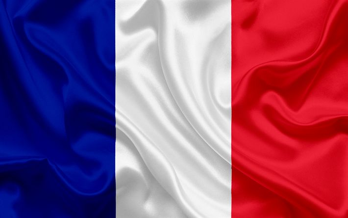 Download wallpapers French flag, France, Europe, silk, flag of France