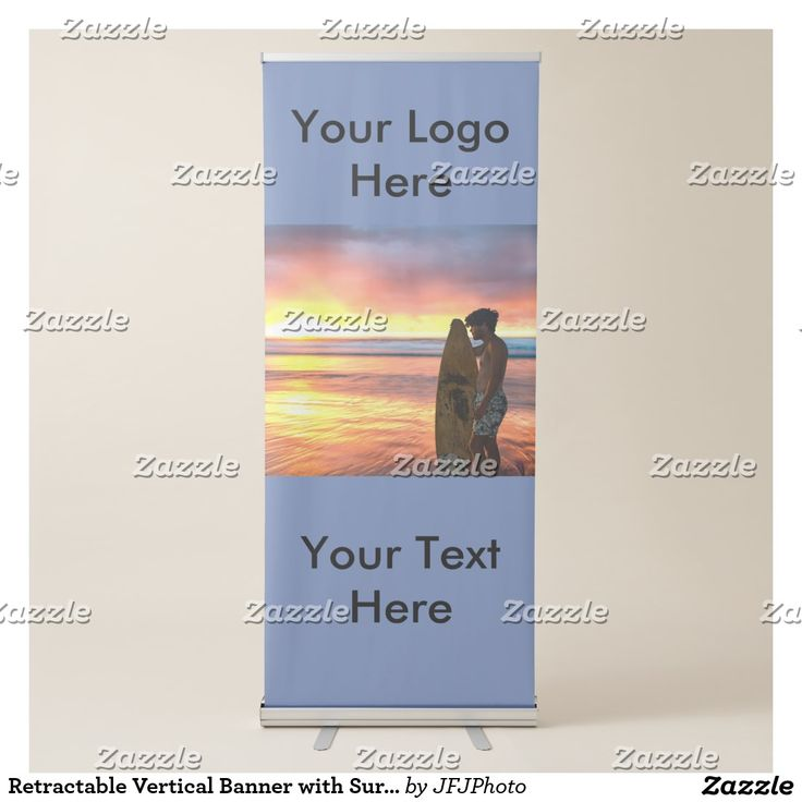 Retractable Vertical Banner with Surfer at Sunrise