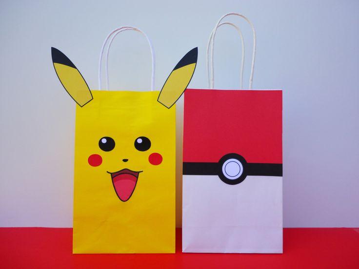 Instant Download Pokemon Favor Bags - Pikachu Pokeball Favors/ Pokemon Birthday…