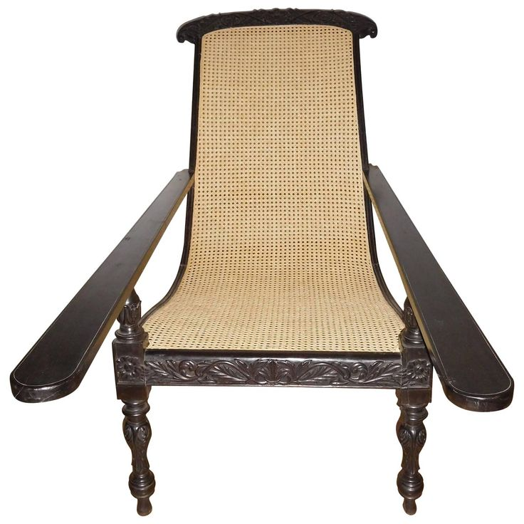 Rare Ebony Wood Late 19th Century Plantation Chair, Anglo Indian