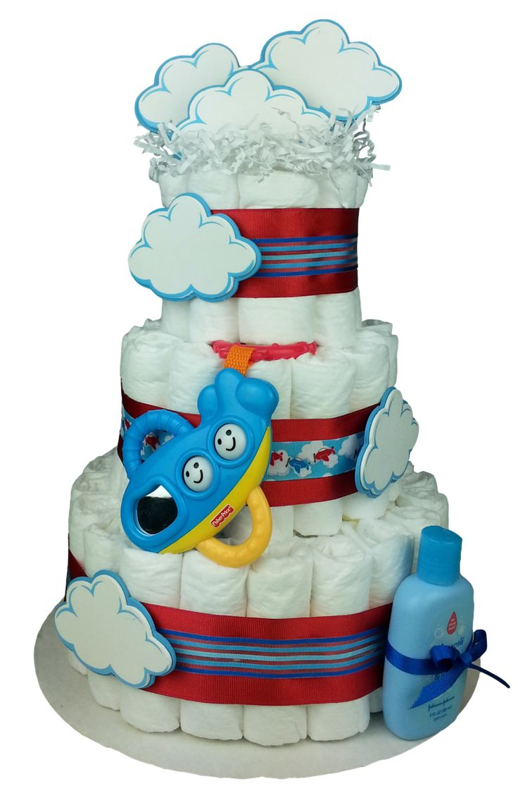 Airplane, diaper cake for boys, front view
