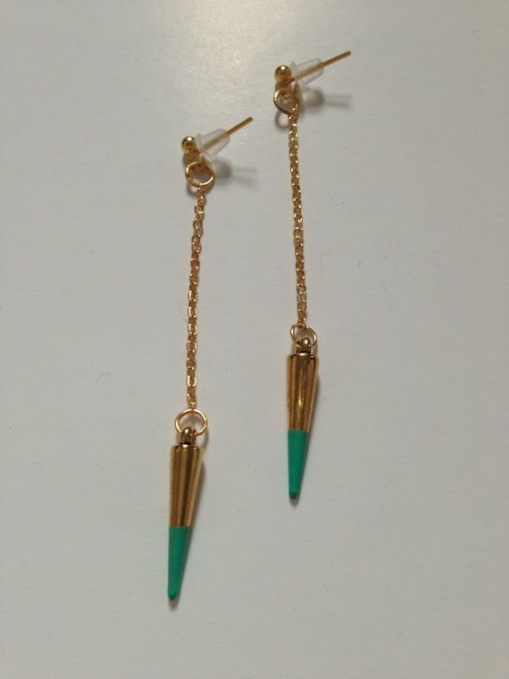Gold drop earrings with tipped spike by BlueBlueElectricBlue, £8.00