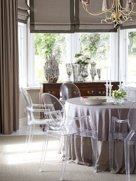 Ghost chair and roman blinds