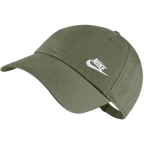 Nike Heritage Performance Cap ($18) ❤ liked on Polyvore featuring accessories, hats, green oth, strap hats, nike hat, logo hats, cap hats and logo cap