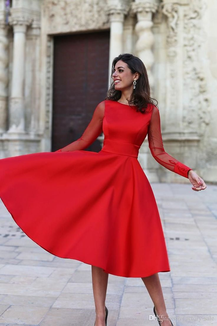 2019 Sheer Long Sleeves Red Homecoming Dresses A Line Jewel Neck Backless Tea Length Cocktail Dresses Mother Formal Gowns Cheap Expensive Homecoming Dresses Flo… in 2020 | Red homecoming dresses, Floral homecoming dresses, Tea length cocktail dresses