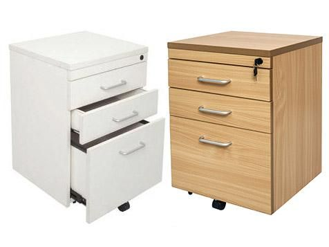 Mobile Pedestal 1 File 2 Drawer in White 690 x 465 x 447mm Lockable with Metal Runners 5 Year Warranty