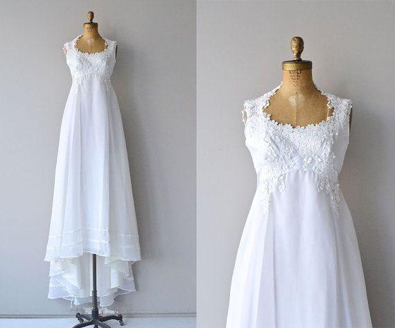 Delphine wedding gown | 1970s wedding dress | empire waist 70s wedding dress
