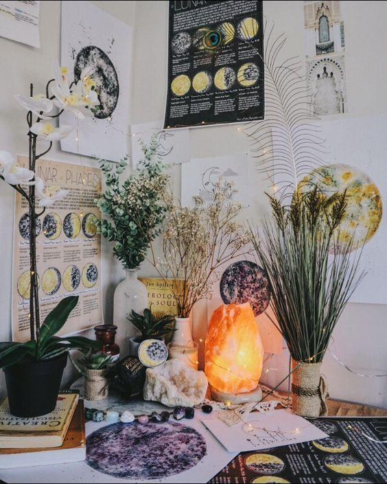 zen corner with salt lamp