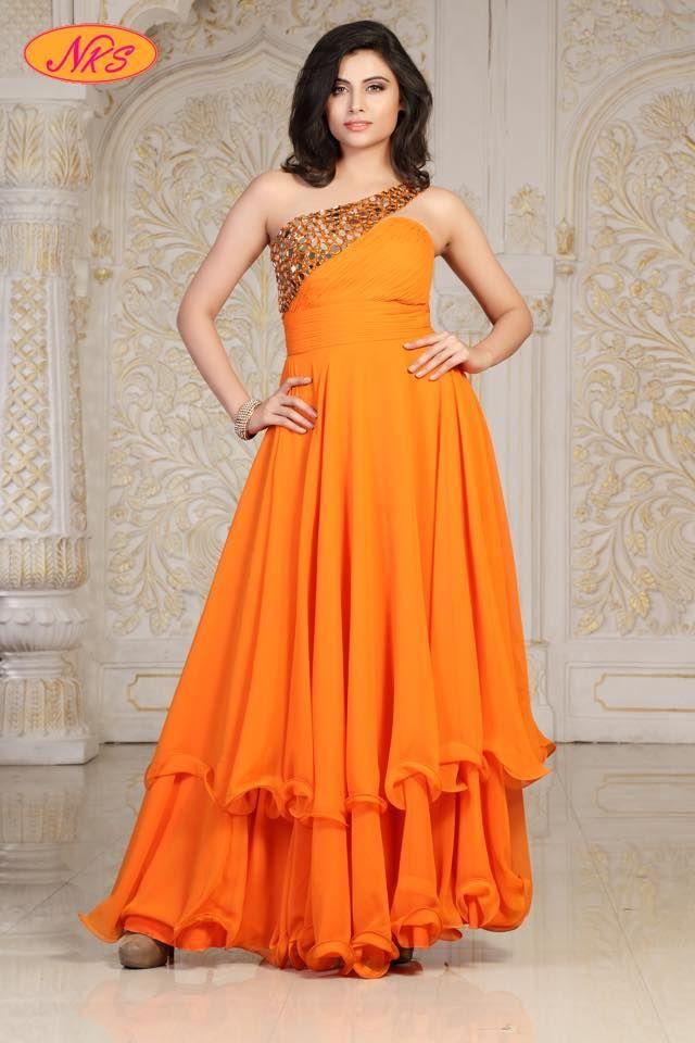 Exclusive Western Georgette Mirror WorkLong Gown | Buy Online Westrenwear | Elegant Fashion Wear Price ;1150 #georgette #mirror #work #partywear #gown