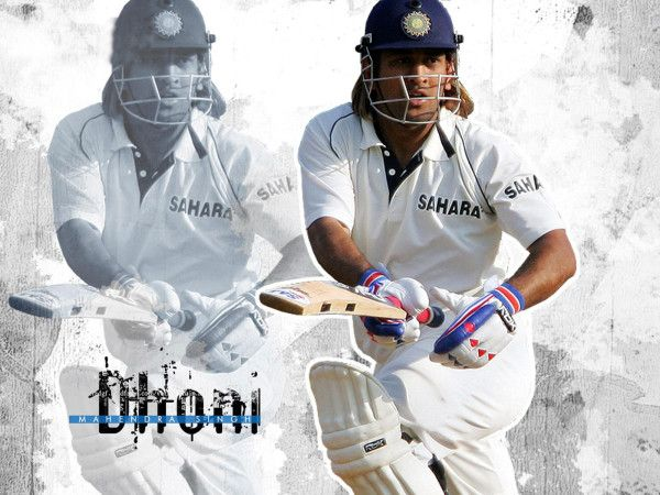 Cool wallpaper of Mahendra Singh Dhoni in White Jersey