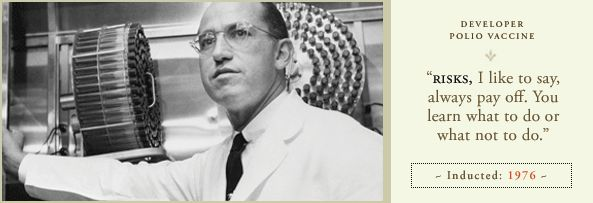 "Dr. Jonas Salk discovered vaccine against polio. I remember going to get my ""dose"" on a cube of sugar at the school."
