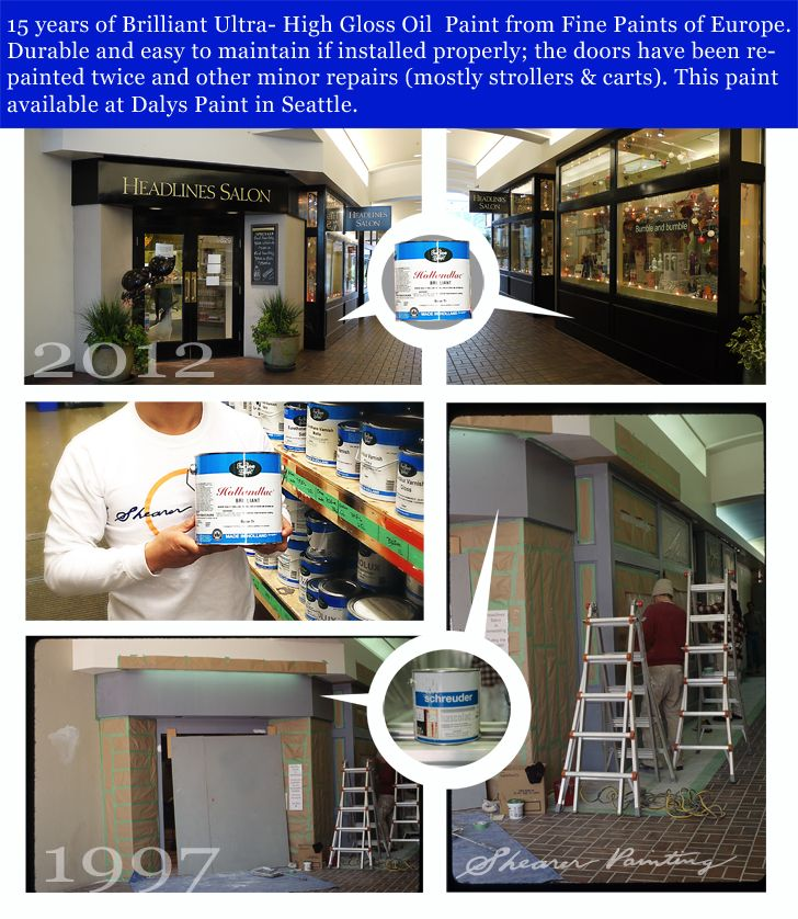 The Owners of Headlines Salon in University Village contact Shearer Painting in 1997 to install a black durable high gloss finish to their newly remodeled store front. In the 15 years since installation the door has been repainted twice and two damaged spots repainted.