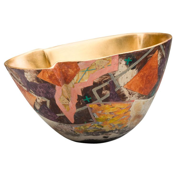 "Pottery Bowl by Bennett Bean -- a ""cross-polinating"" artist of diverse media whose vita lists birth of child and grandchild as part of his ""education."""