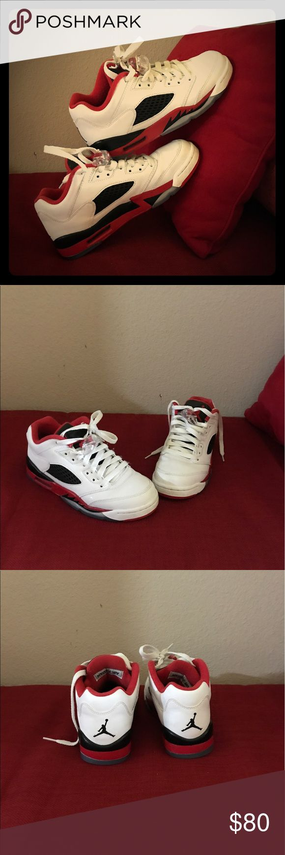 ☄️AIR JORDAN☄️ NEGOTIABLE ON PRICE! AUTHENTIC MICHAEL JORDAN SNEAKERS!! USED TWICE THEREFORE IN MINT CONDITION. COLORS (WHITE RED AND BLACK) Air Jordan Shoes Sneakers