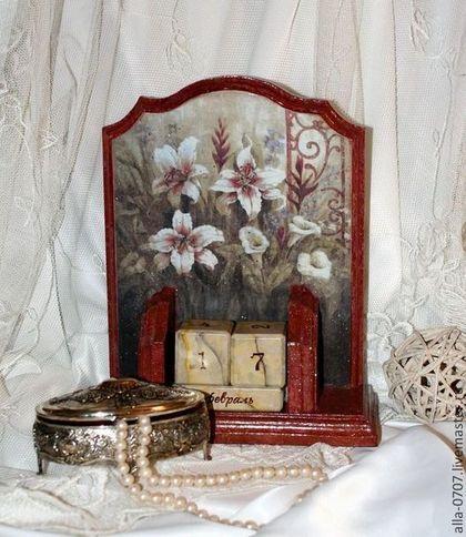 """Часы для дома ручной работы. Ярмарка Мастеров - ручная работа Набор """"Лилии в старом саду"""". Handmade."""