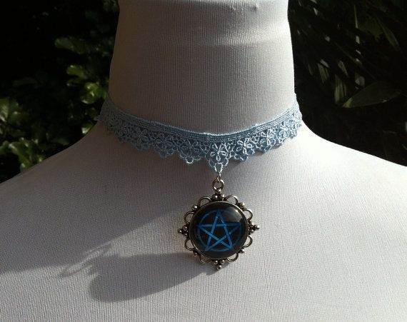 Baby blue lace choker with blue pentagram in by CindysAccessories, $20.00