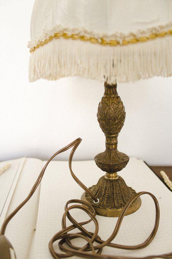 Antique Lamp Shade Shabby Chic Lamp Base French Boudoir Lamp
